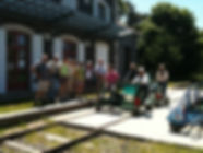 Groupe au départ du vélorail de Pradelles en Haute loire