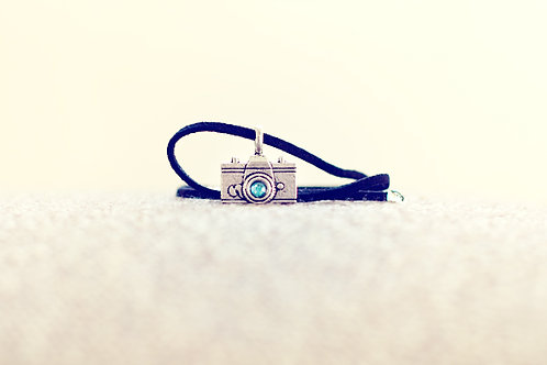 Camera Love Necklace – Signature Blue on Leather Suede Cord