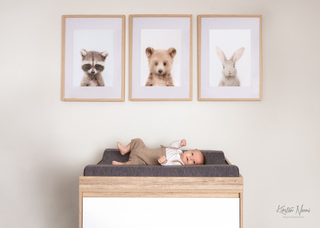 Portrait of a newborn baby boy in his nursery by Christchurch newborn and baby photographer Kirsten Naomi Photography