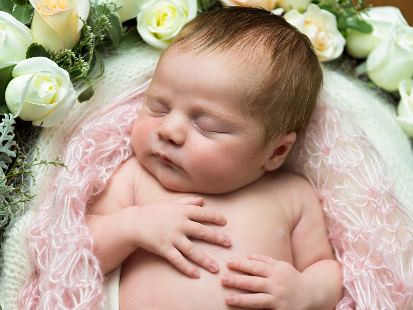 Portrait photograph of a newborn baby girl in a nest of roses