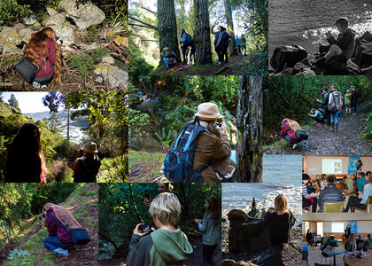 Collage of images showing students on an outdoor photography workshop in Christchurch, New Zealand