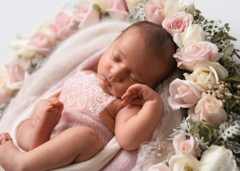 Portrait of a beautiful baby girl surrounded by roses by Christchurch newborn baby & family photographer Kirsten Naomi Photography