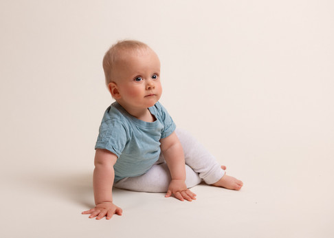 Photograph of a baby boy during a milestone session with Christchurch newborn baby & family photographer Kirsten Naomi Photography