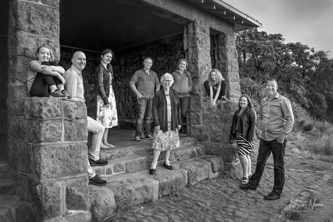 Black and White portrait of an extended family by Christchurch family photographer Kirsten Naomi Photography  | Family Portraits | Lifestyle Photography | Environmental Portraits | Simply Authentic