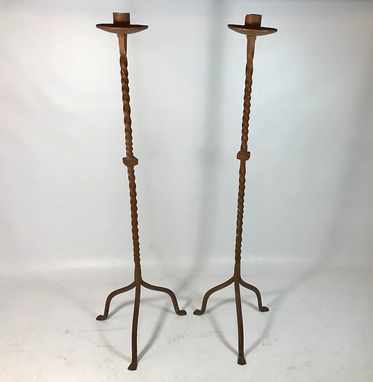 Pair of Wrought Iron Church Floor Candlesticks