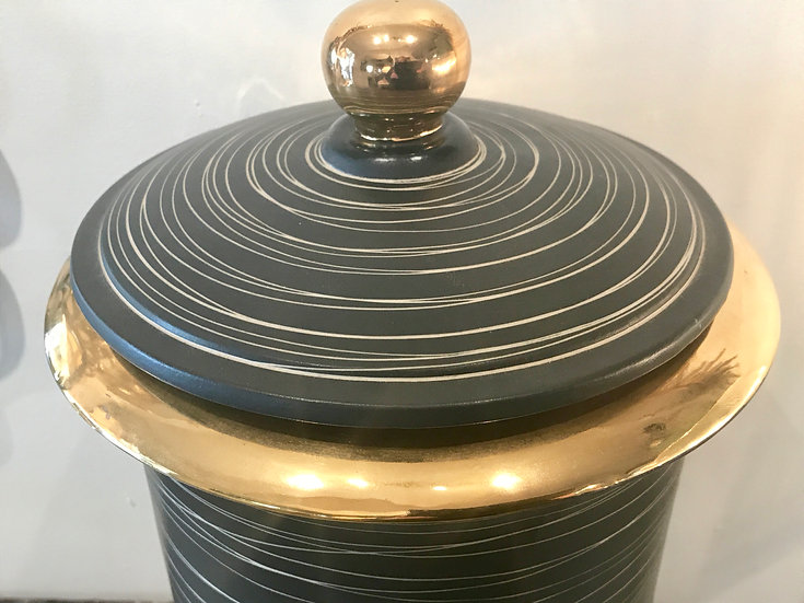 Black & Gold Lidded Pottery Vase.