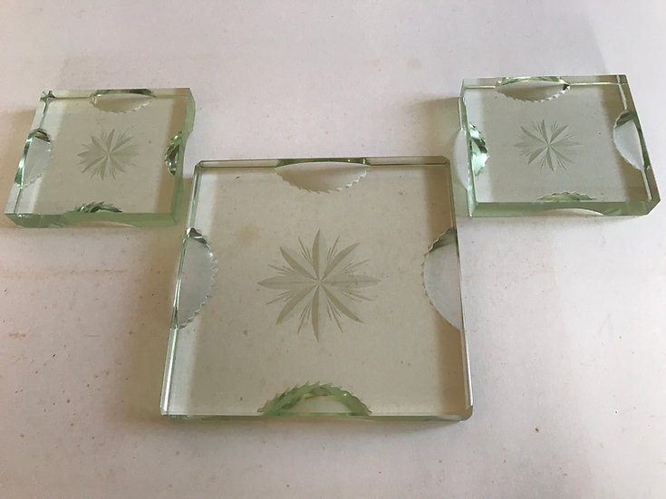 Three(Pair now sold) Very Thick Cut Glass Coasters.
