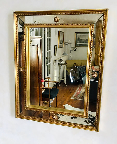 Double Framed Classical Mirror with Rose Bosses