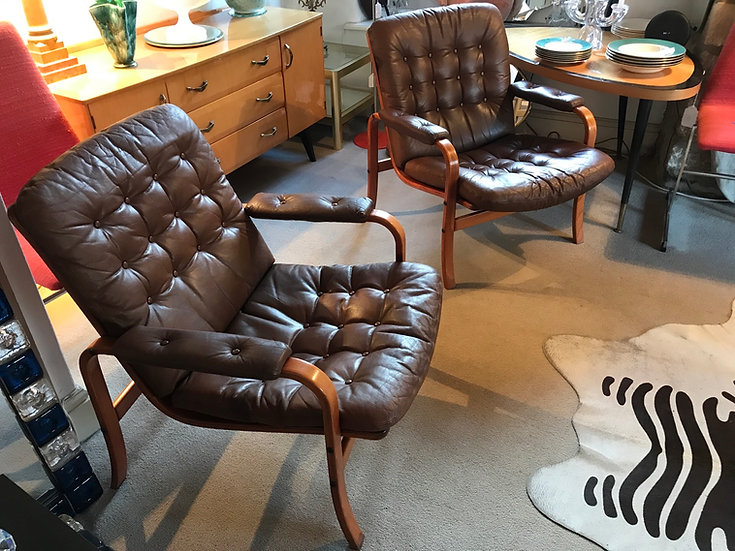 Pair Of Swedish 60's beech Leather Arm Chairs By Gote Mobler