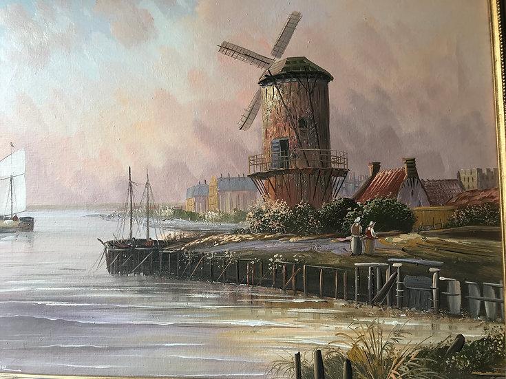 Dutch River Scene Oil Painting Framed Signed c1960