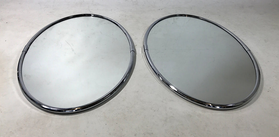 Pair of Oval Chrome Mirrors.
