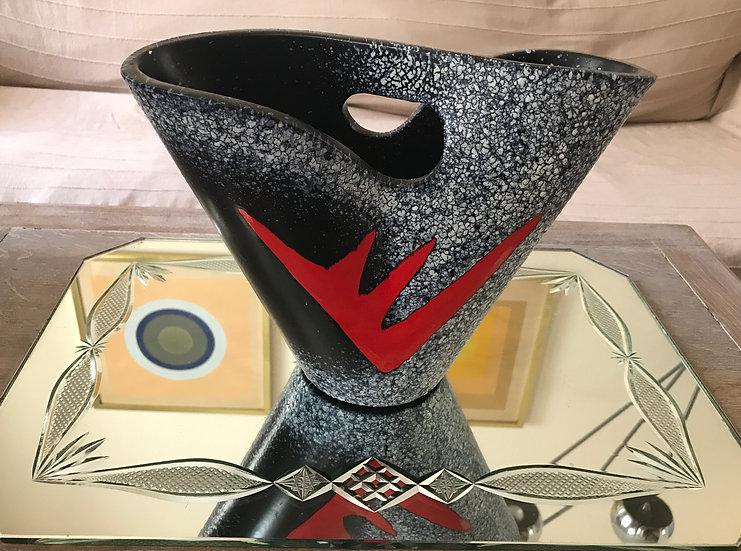Elchinger Pottery Vase in grey/black/red
