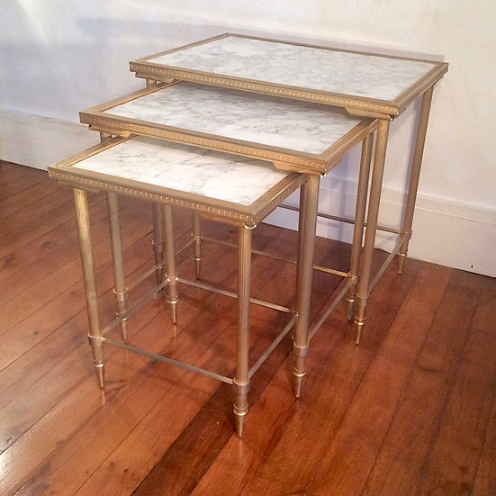 Trio of Brass Side Table with solid Marble tops