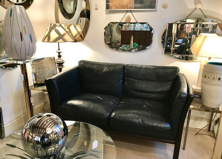 Two-Seat Danish Sofa in Black Leather