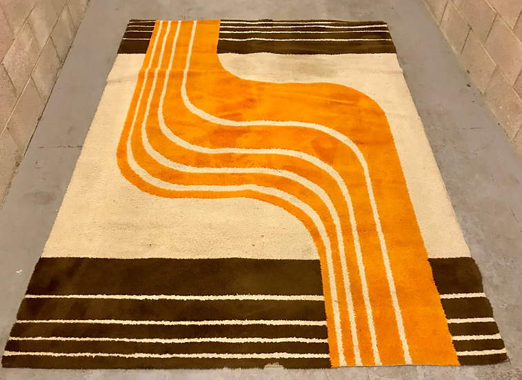 Retro Wave Orange & Brown Rug