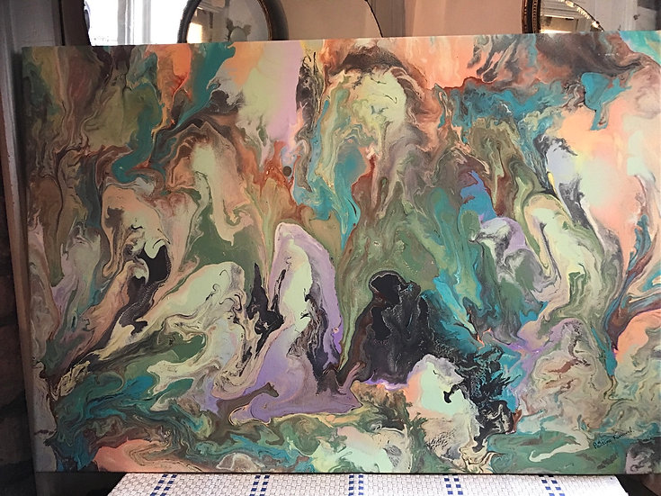 SOLD - Large Abstract Acrylic Painting Signed By Pauline Furnival