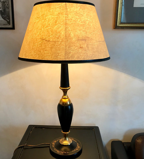 Leather & Brass Shaped Table Lamp in Leather