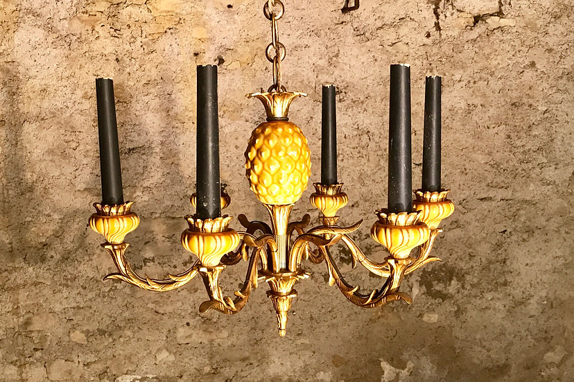 Six-Branch Gilt Bronze Chandelier with Glazed Pottery Pineapple.