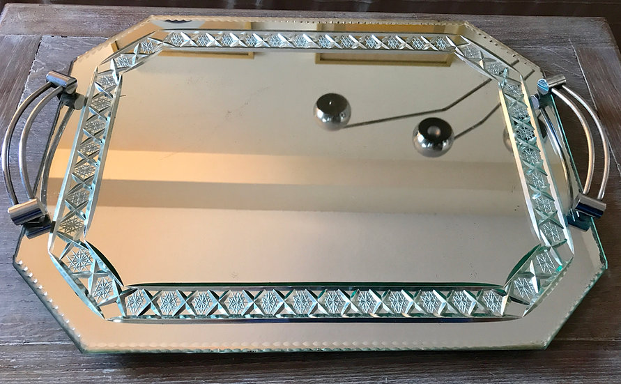 Large Octagonal Mirror Plateau with chrome wire handles