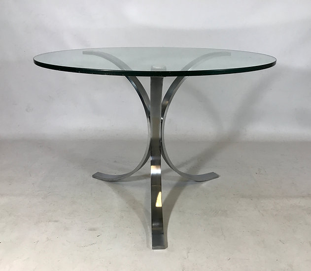 Brushed Stainless Steel Tripod Dining Table