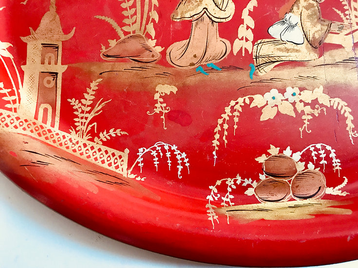 Red Oval Chinoiserie Tole Tray