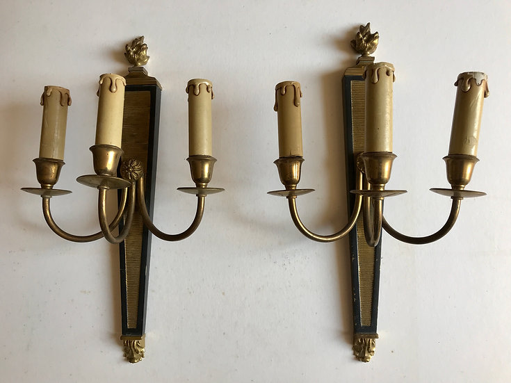 Neo-Classical Black & Brass Wall-Lights