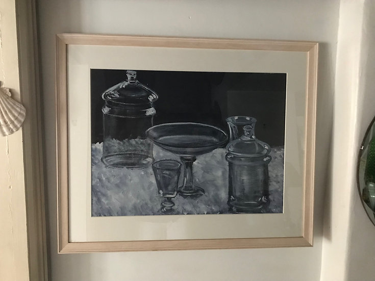 Still Life Painting In Gouache French Artist Unkown 1950 Newly Framed