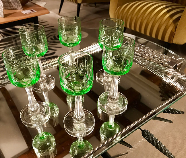 Six Green VSL Liqueur Glasses
