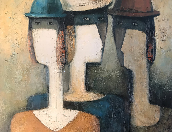 Framed Print of Three Women in Sunday Hats by Nodar Giunaschvili