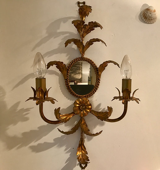 Pair Gilt Metal Appliques with Oval Mirrors