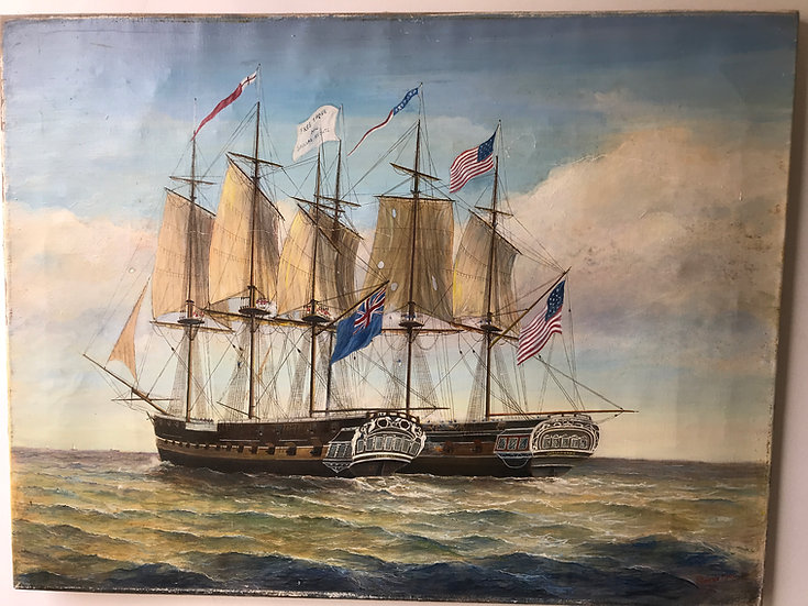 Large Oil on canvas of a sailing ship