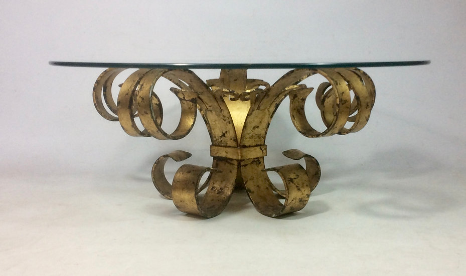 Gilded Wrought Iron Rococo Coffee Table