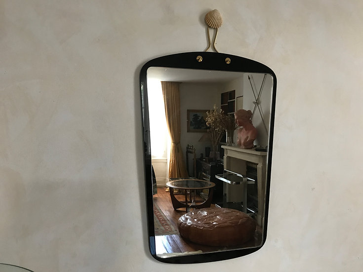 Sixties Double Mirror with Black Glass