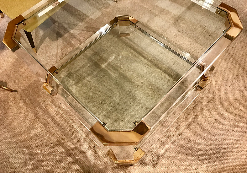 Lucite & Brass Side Table with Canted Corners