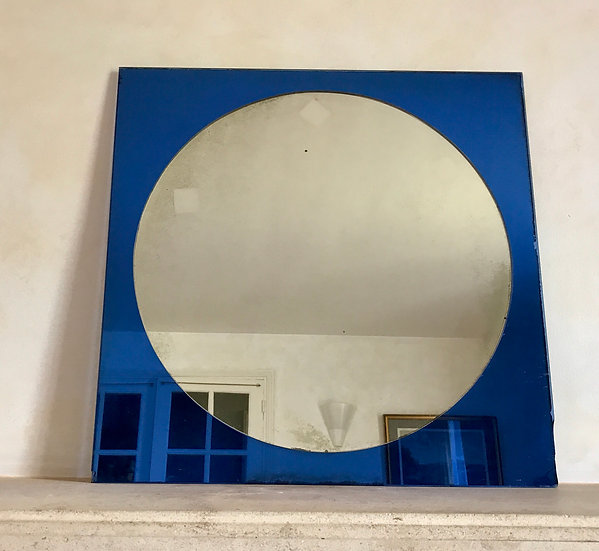 Blue Square Mirror with Clear Mirror Inner.