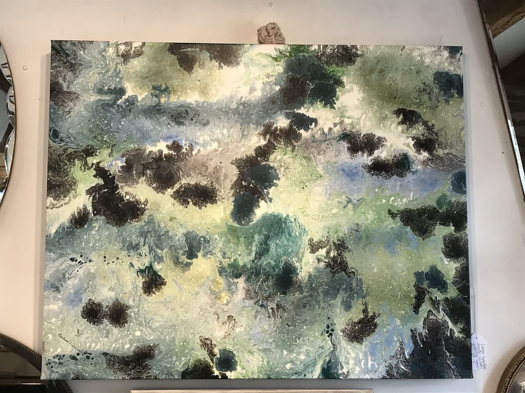 Blue Abstract Painting By Pauline Furnival