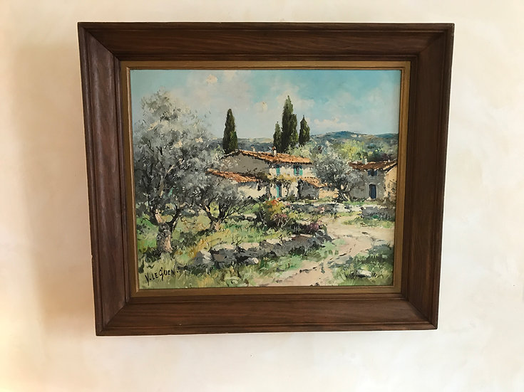 Framed Oil on Canvas of Provencal Mas