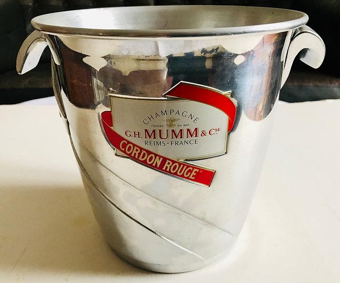 "Spun Aluminium Ice Bucket with good ""Mumm Cordon Rouge"" label."