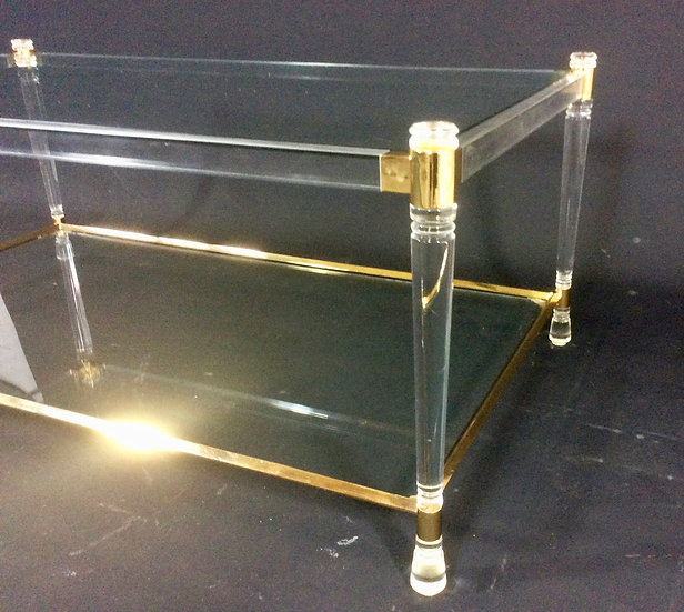 Perspex/Lucite and Brass Coffee Table.