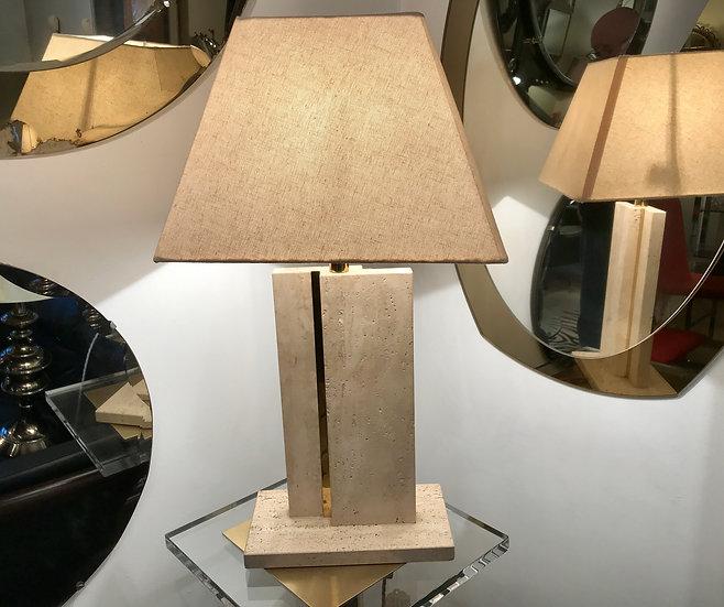 Travertine & Brass Table Lamp