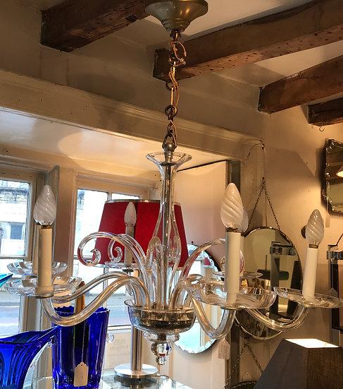Six Branch Glass Chandelier