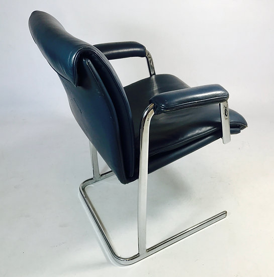 1970s Chrome and Blue Leather Desk Chair