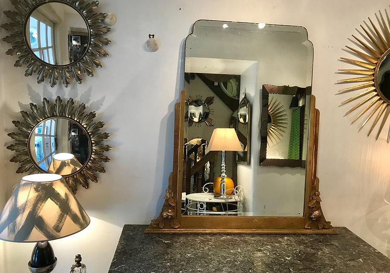 Deco Mirror with Gilt Half Frame