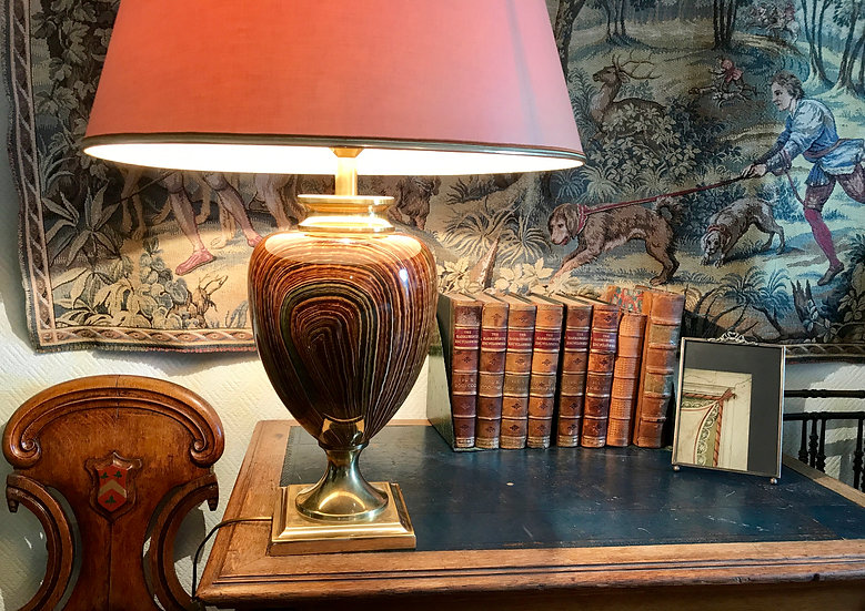Brass and Faux Bois Ceramic Urn Lamp by Le Dauphin