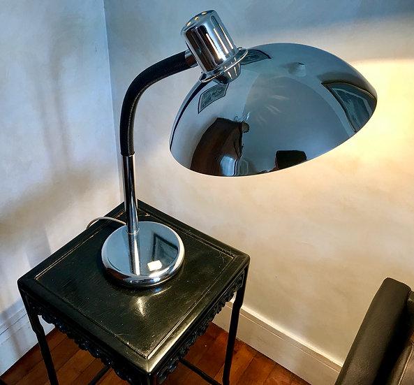Goose-necked black and chrome Desk Light.