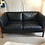 Thumbnail: Danish Black Leather & Cherry Wood Sofa By Stouby c1970
