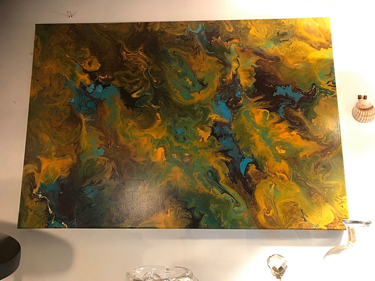 Abstract Acrylic Painting Signed By Pauline Furnival