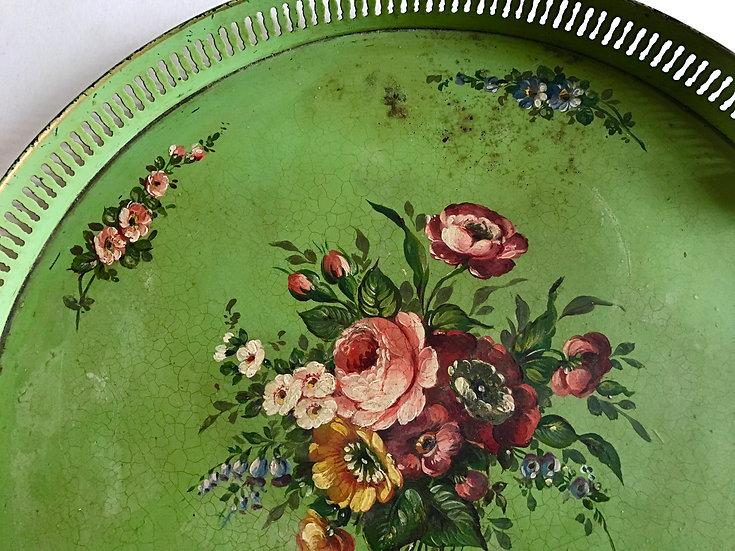 Circular Green Tole Tray