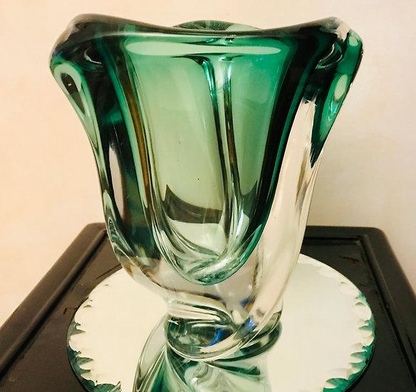 Small Green VSL Triangular Vase