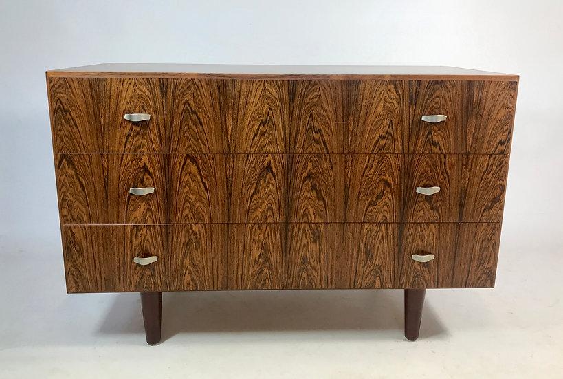 Rosewood Veneer Three-Drawer Chest